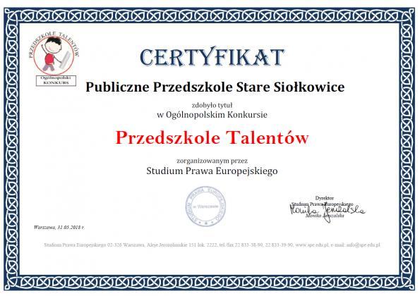 Certyfikat - Przedszkole Talentów