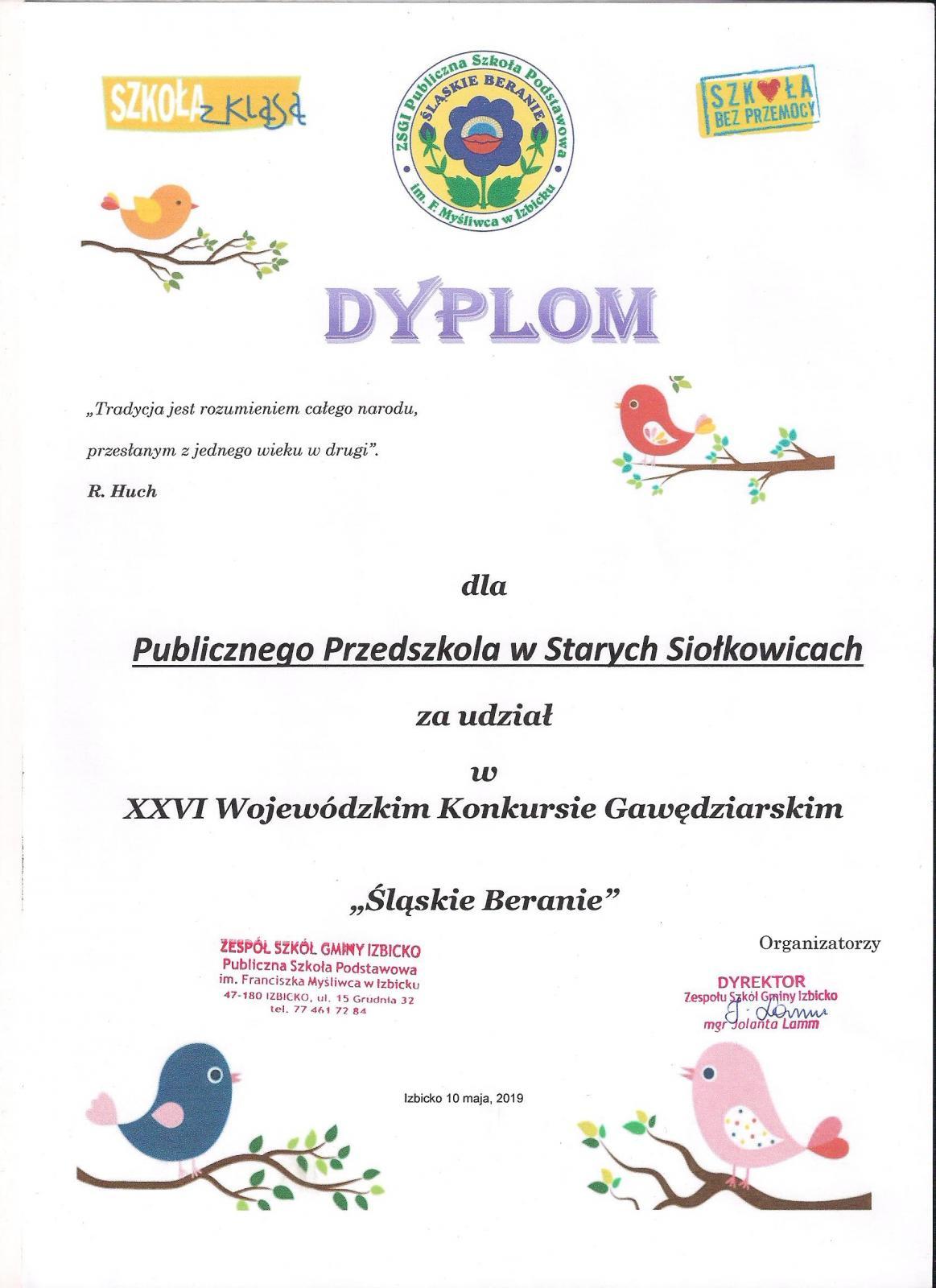 Dyplom za udział w Wojewódzkim Konkursie Gawędziarskim