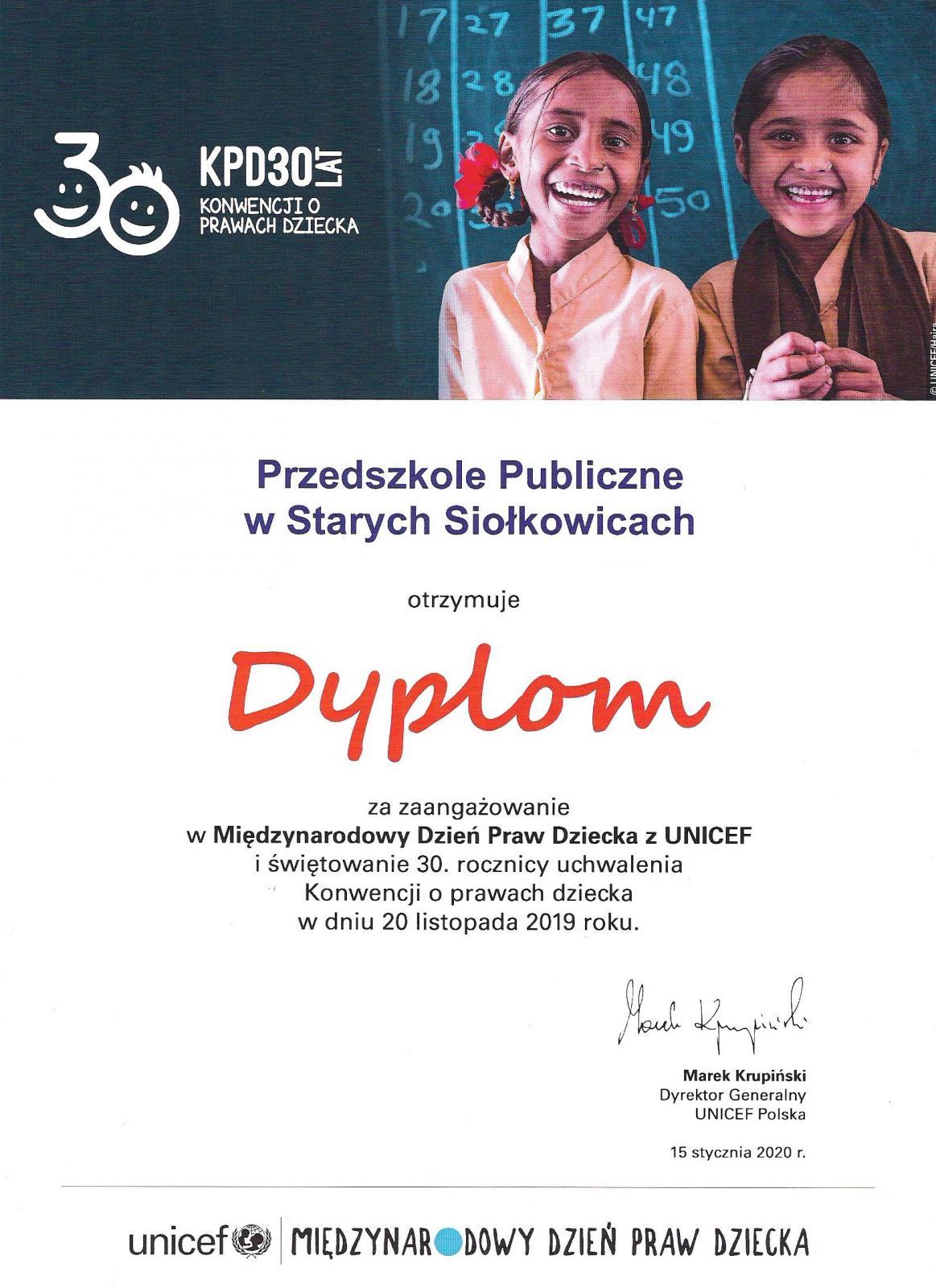 Dyplom za zaangażowanie w Międzynarodowy Dzień Praw Dziecka z UNICEF