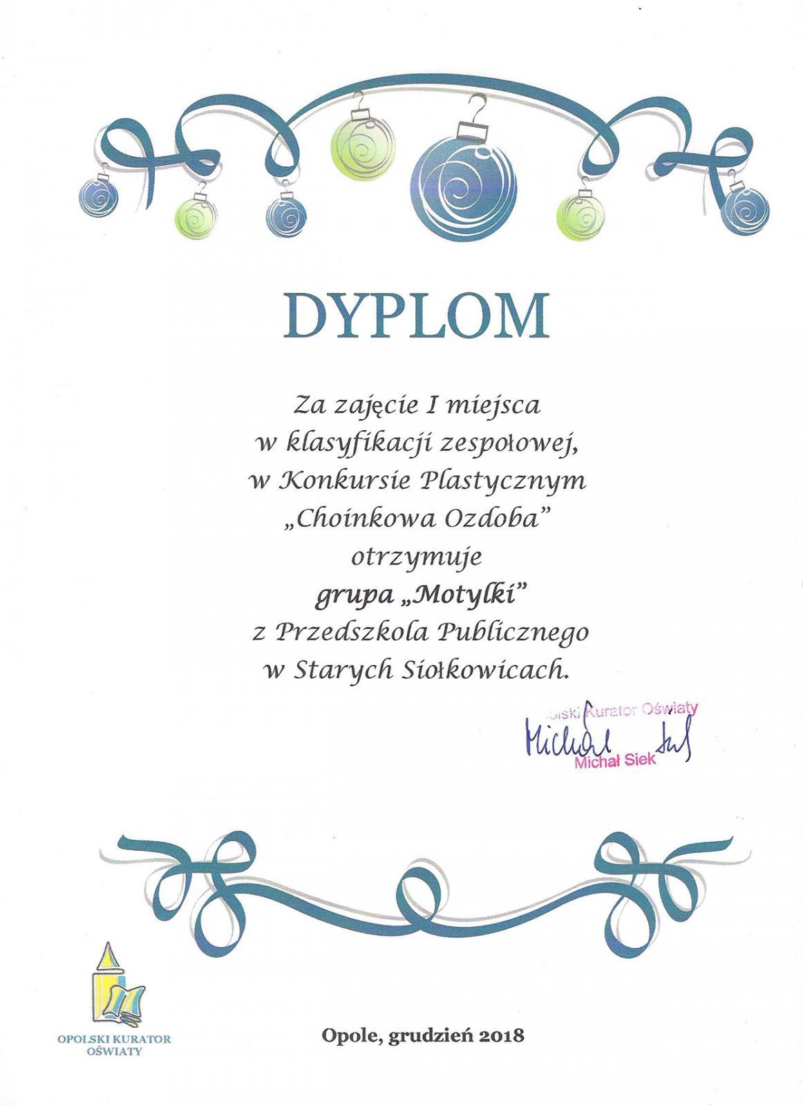 Dyplom - Konkurs Choinkowa Ozdoba